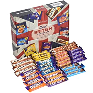 BritTreats British Candy – UK Chocolate Selection Boxes – 33 Multi-Pack Size UK Chocolate Bars in Elegant and Classic British Snack Box – British Candy Box with Flake, Crunchie, Yorkie, Ripple and more
