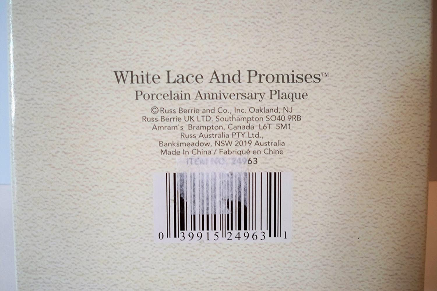 a72acfddd9 Amazon.com  Russ Berrie 40th Wedding Anniversary White Lace   Promises  Porcelain Heart Plaque  Home   Kitchen