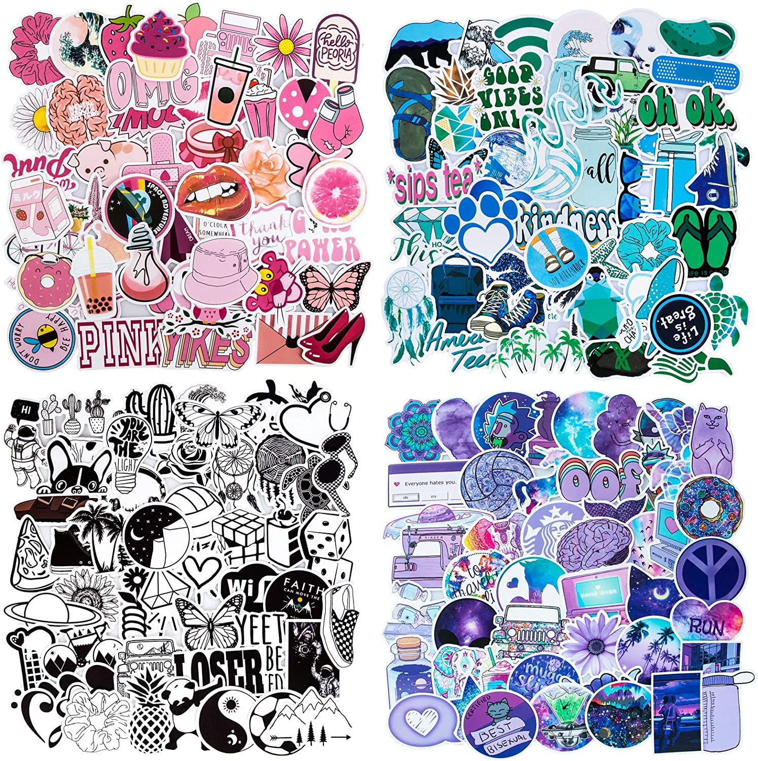 Mixed Cute VSCO Stickers, Waterproof Vinyl Stickers for Water Bottles, Trendy Aesthetic Stickers for Teens VSCO Girl Gifts, Popular Guitar Laptop Stickers Graffiti Decals [200pcs Sticker Pack]