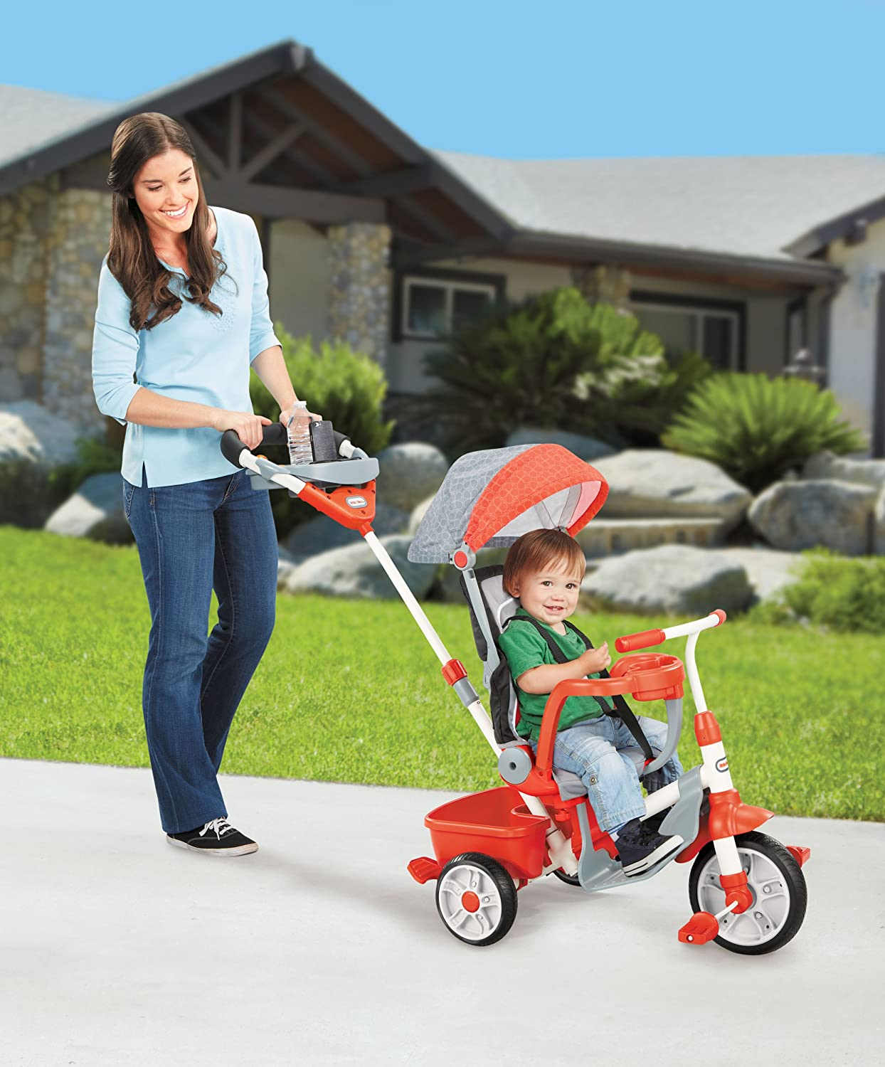 An Image of Little Tikes 5-in-1 Deluxe Ride & Relax, Reclining Trike - Red