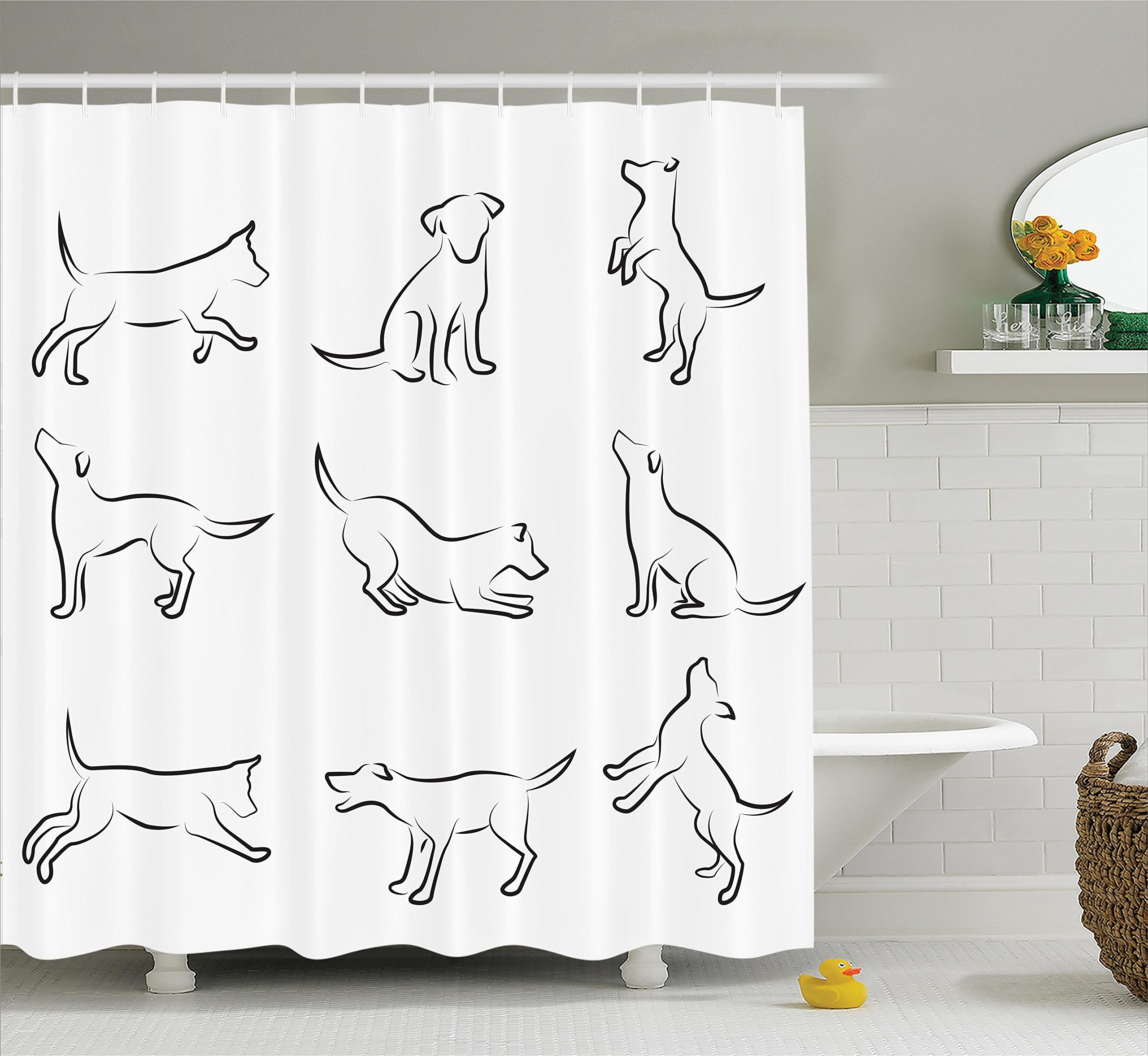 Ambesonne Dog Lover Decor Shower Curtain Set, Digital Sketches of a Puppy Moving Around Scratching Simple Life Style Artistic Work, Bathroom Accessories, 75 Inches Long, White Black