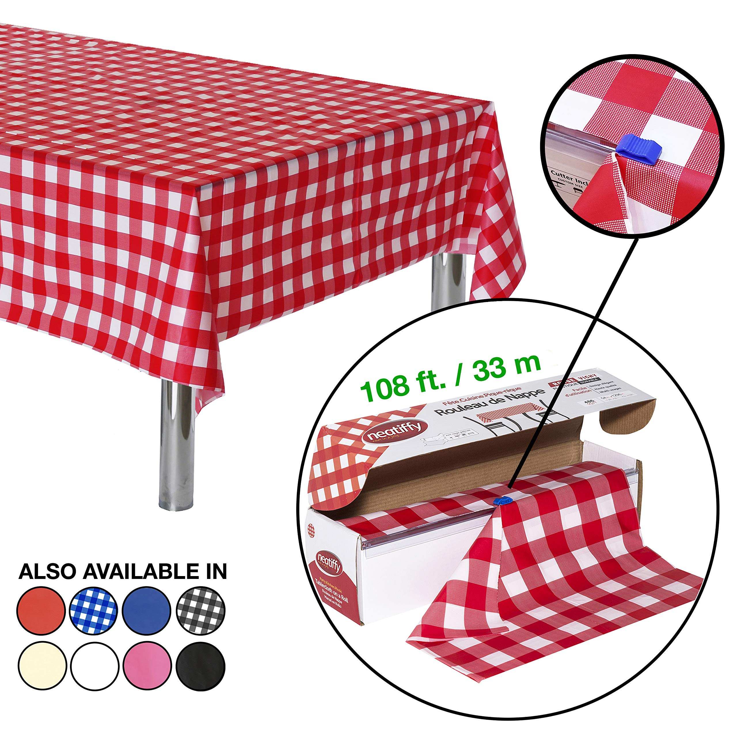 Neatiffy 54 Inch x 108 Feet Thick Plastic Table Cloth Roll Party/Banquet, Durable Table Cover (Reusable/Disposable) Tablecloths for Rectangle/Round/Square Tables, 12 Picnic Pack (Red Checkered) by Neatiffy