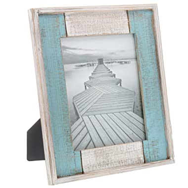 Barnyard Designs Rustic Distressed Picture Frame, 8  x 10  Wood Photo Frame in White and Turquoise