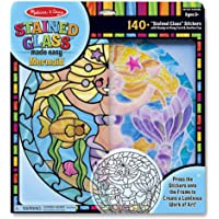 Melissa & Doug Stained Glass Made Easy Activity Kit, Arts and Crafts, Develops Problem Solving Skills, Mermaids, 140+ Stickers, Great Gift for Girls and Boys - Best for 5, 6, 7 Year Olds and Up