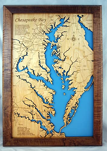 Amazon.com: Chesapeake Bay, Maryland and Virginia: Framed Wood Map ...