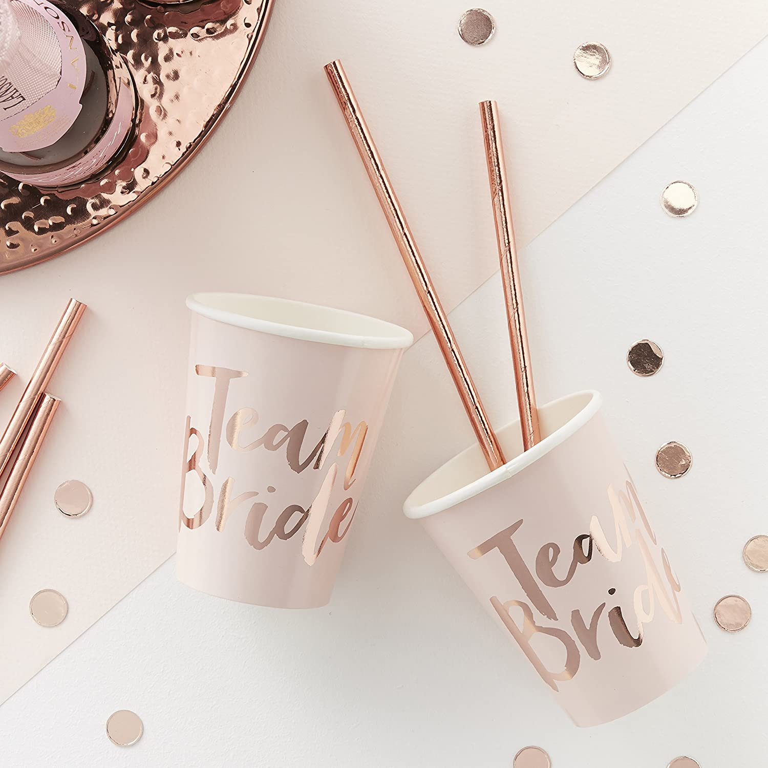 Ginger Ray Pink and Rose Gold Foiled Team Bride Hen Party Paper Cups - 8 Pack - Team Bride