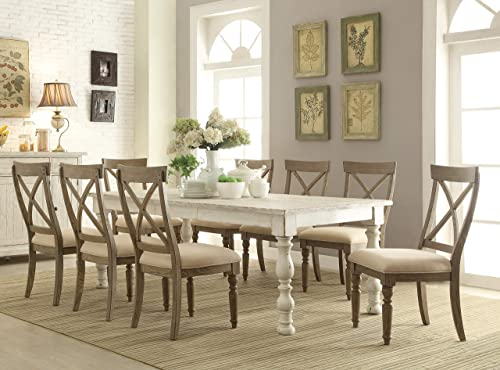Roundhill Furniture Trani Weathered Worn White 9-Piece Dining Set with Extendable Table,