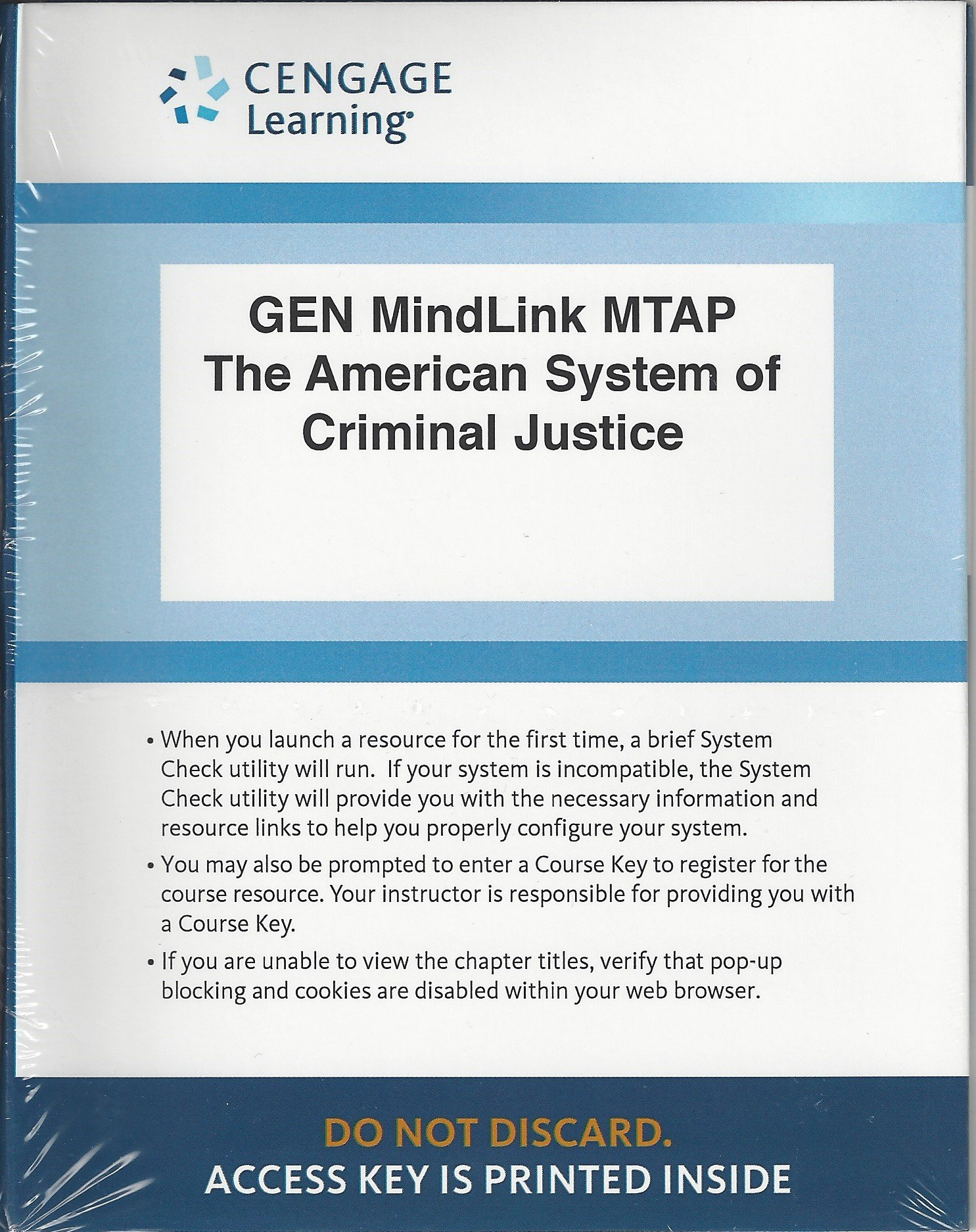 Download GEN MindLink MTAP Criminal Justice Printed Access Card for Cole/Smith/DeJong's The American System of Criminal Justice pdf