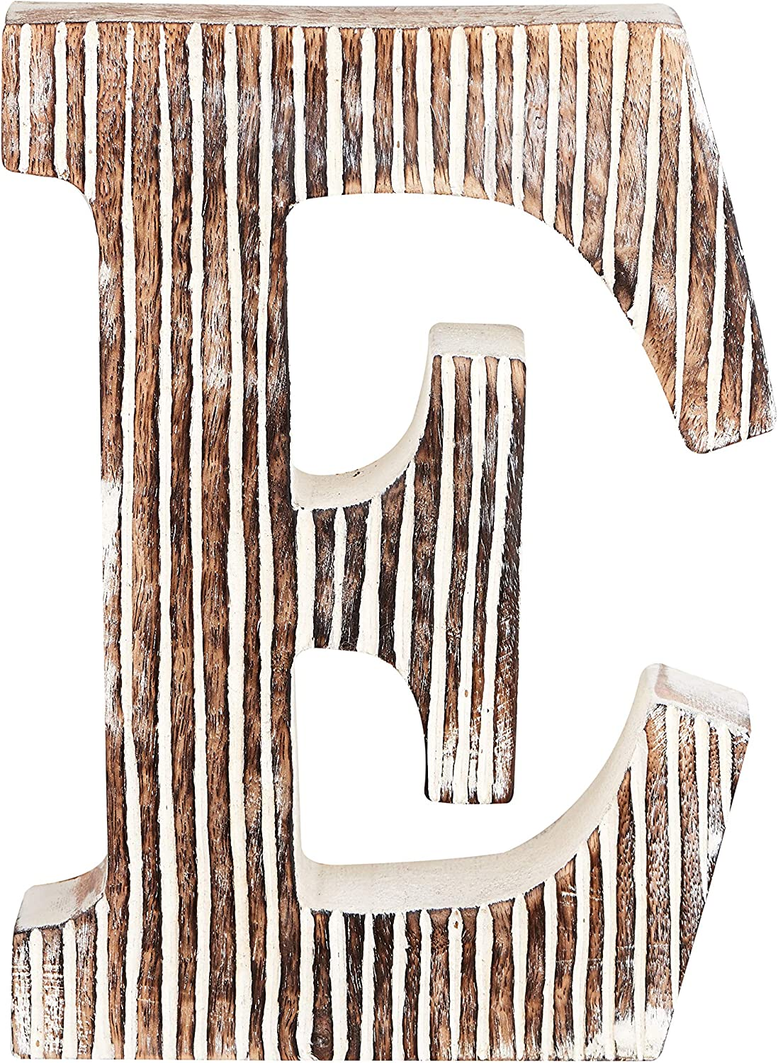 Decorative Wood Letter E | Standing and Hanging Wooden Alphabets Block for Wall Decor | Shabby Chic Wood Block Letter for Wall Table | Alphabet Letter for Home Bedroom Birthday Housewarming Party