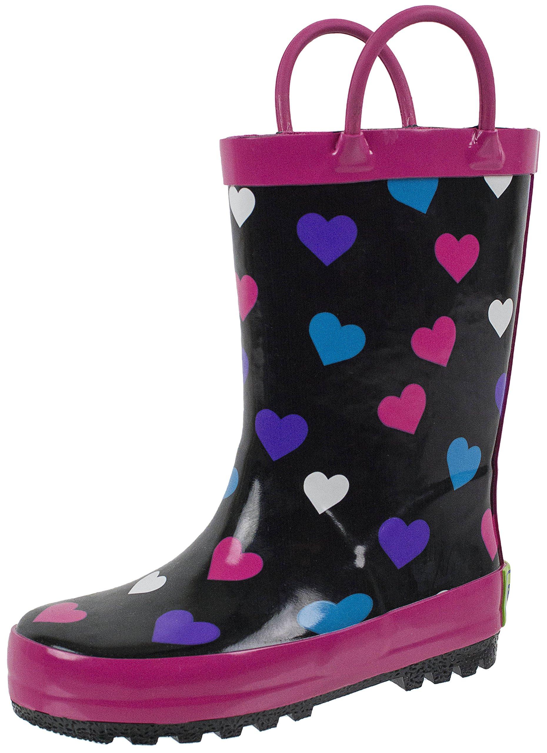 Rainbow Daze Kids Rain Boots Rainin' Hearts Heart Pattern, Waterproof, Rubber, Black Pink, Size 13/1