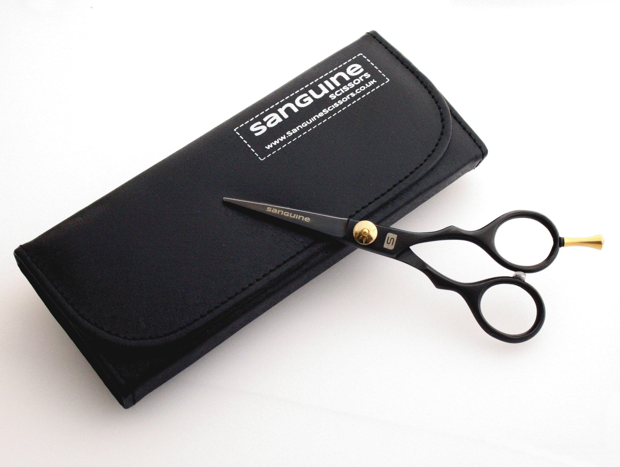 Sanguine® Ciseaux Professionnels Ultra aiguisés pour Moustache et Barbe, Noir, 14 cm product image