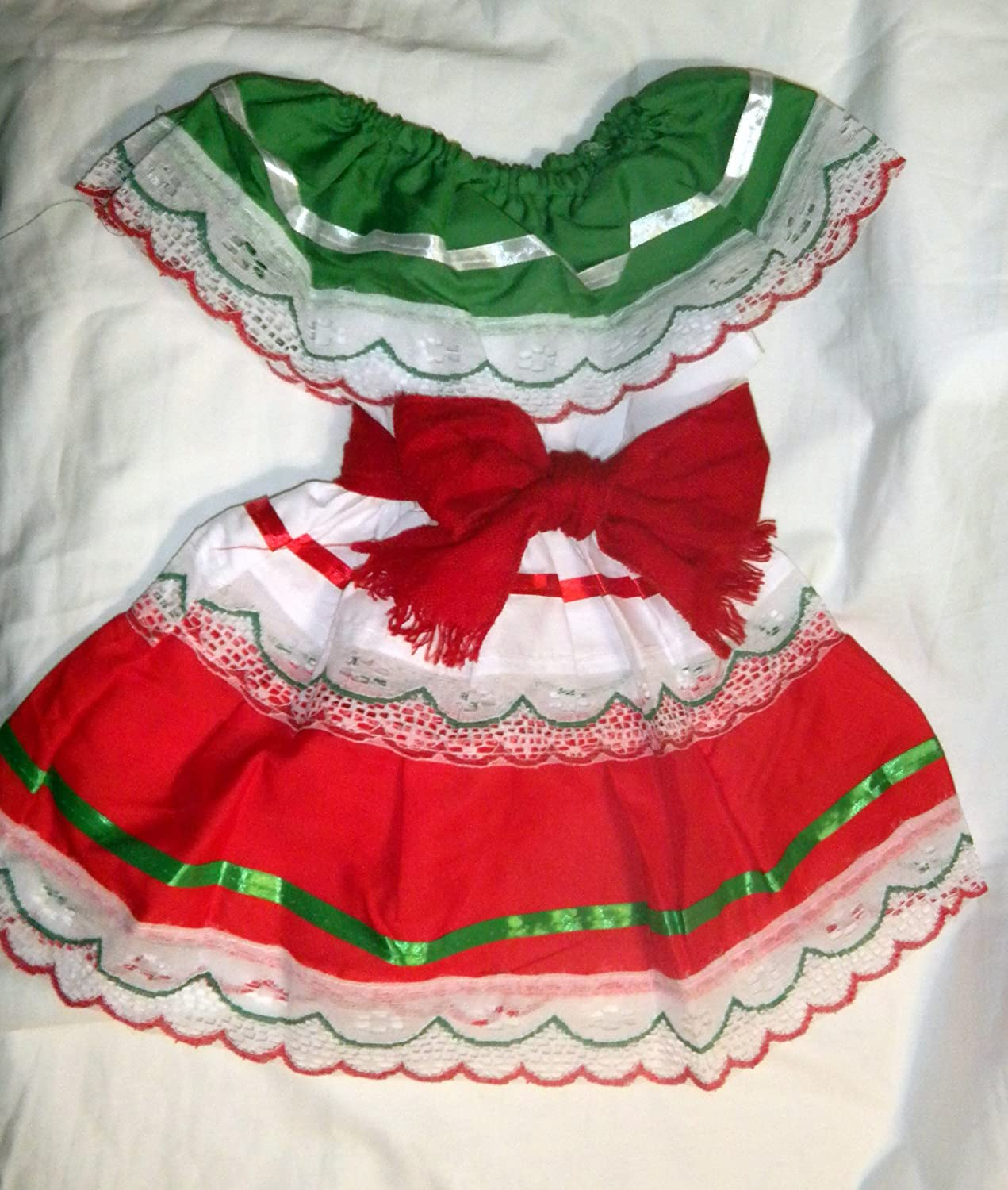Toddlers Tri-color Folklorico Dresses