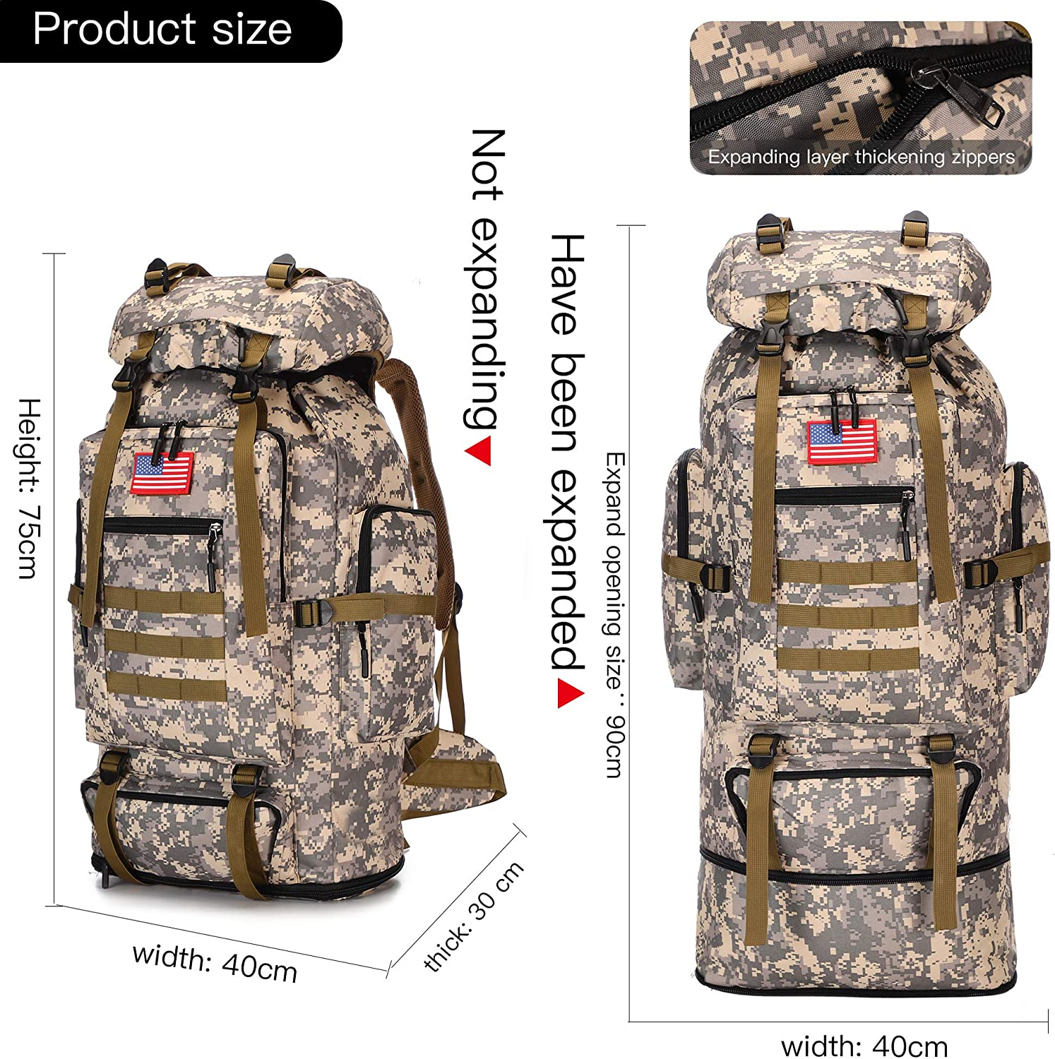 70L//100L Hiking Camping Backpack MOLLE Rucksack Waterproof Daypack for Traveling
