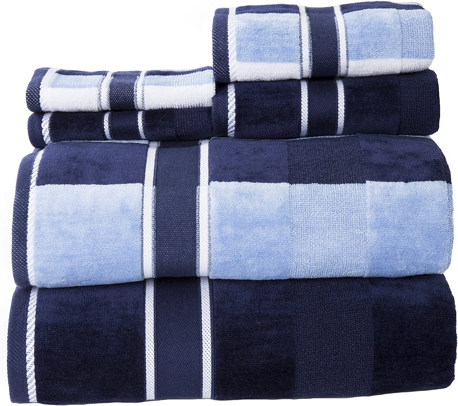 Lavish Home 100% Cotton Oakville Velour 6 Piece Towel Set-Navy