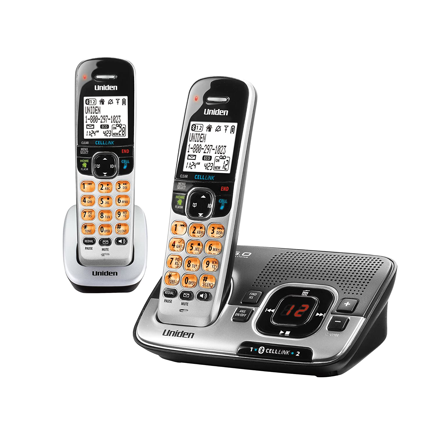 Amazon.com : D1780-2BT DECT 6.0 Expandable Cordless Phone with Digital  Answering System and Bluetooth CELLLiNK, Silver, 2 Handsets : Cordless  Telephones ...