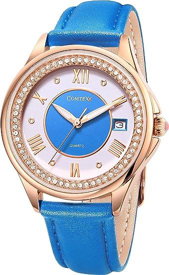 COMTEX relojes para mujeres lujo Rose-Gold cristal acentuado con esfera azul correa de cuero