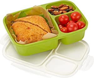 Leakproof, 3 Compartment, Bento Lunch Box, Airtight Food Storage Container (1 Pc) - Green