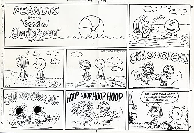 Peanuts Comic Strips by Charles Schulz - ORIGINAL SUNDAY PHOTOSTAT PRINT -  August 12, 1973