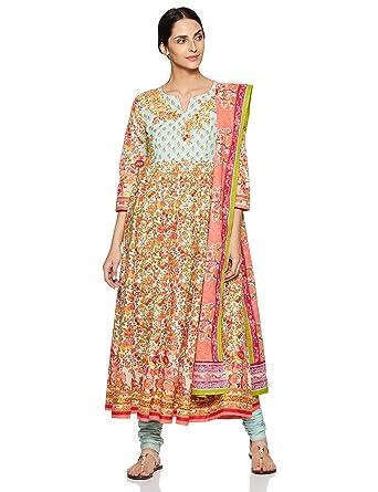 838851f67 BIBA Women s Synthetic Anarkali Salwar Suit Set  Amazon.in  Clothing ...