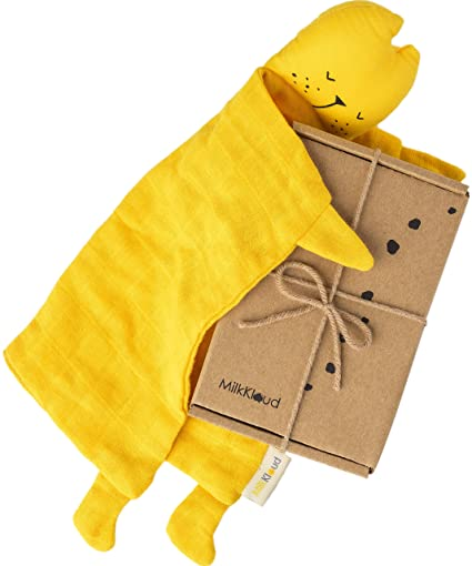 """MilkKloud - Organic Cotton Lovey Toy for Babies 10"""" x 12"""" Security Blanket  Toy for Kids with Cotton Stuffing, Montessori Snuggler, Animal"""
