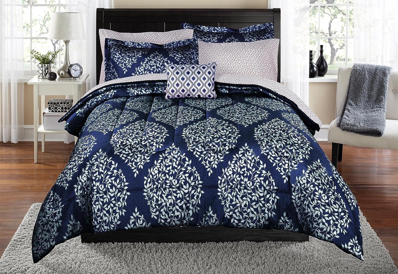 Keeco Mainstays Leaf Damask Navy Full Bed in a Bag Coordinating Bedding Set #555443584