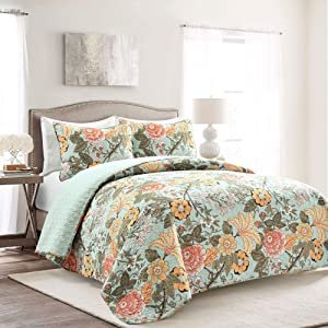 Lush Decor Blue and Green Sydney 3-Piece Quilt Set Luxury Bedding (Full/Queen)
