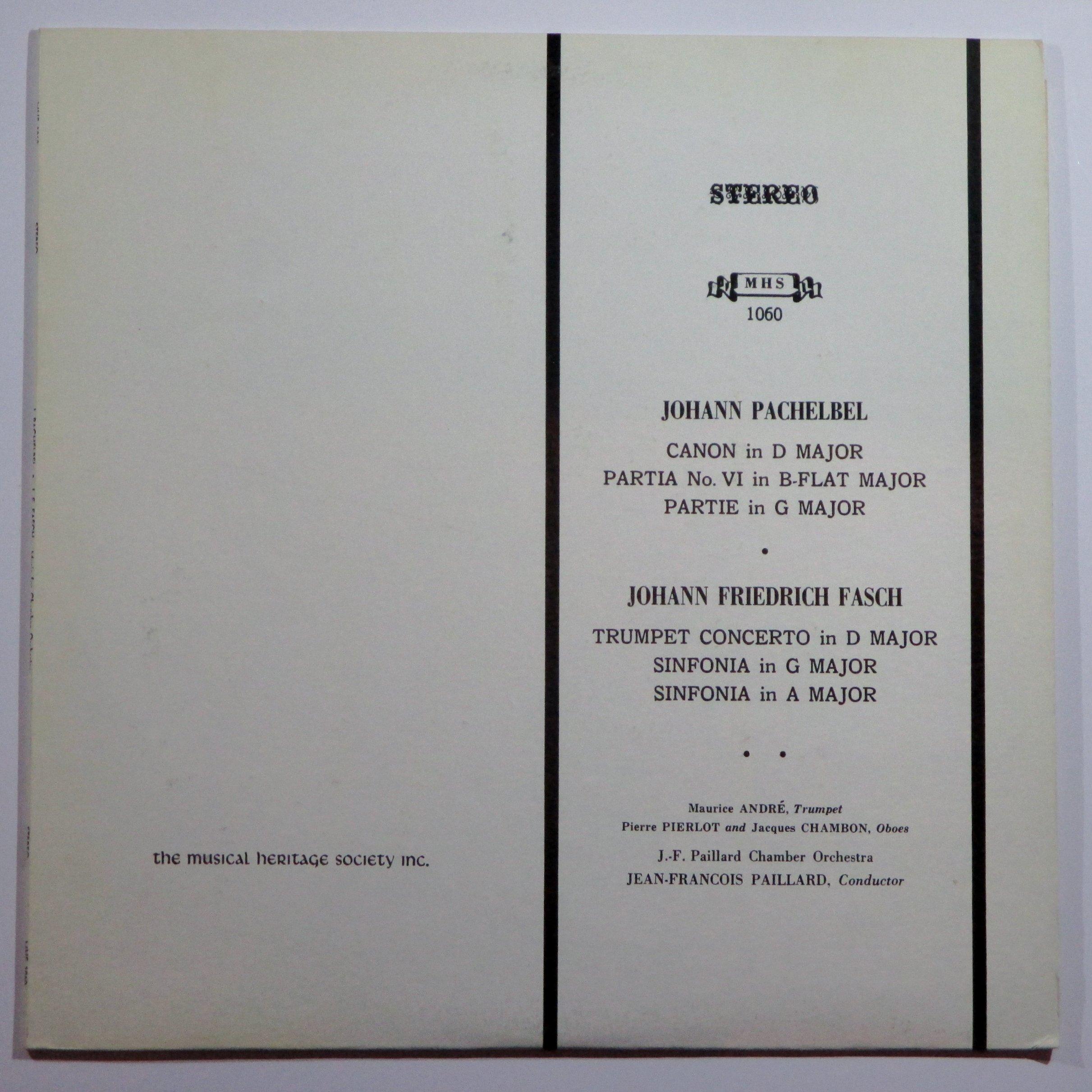 Pachelbel: Canon in D / Partita no VI / Partie in G / Fasch: Trumpet Concerto in D Major / Sinfonia in G / Sinfonia in A