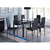IDS Home 7-Piece Home Dining Dinette Kitchen 6 Person Furniture Set with Glass Top Metal Leg and Frame, Black