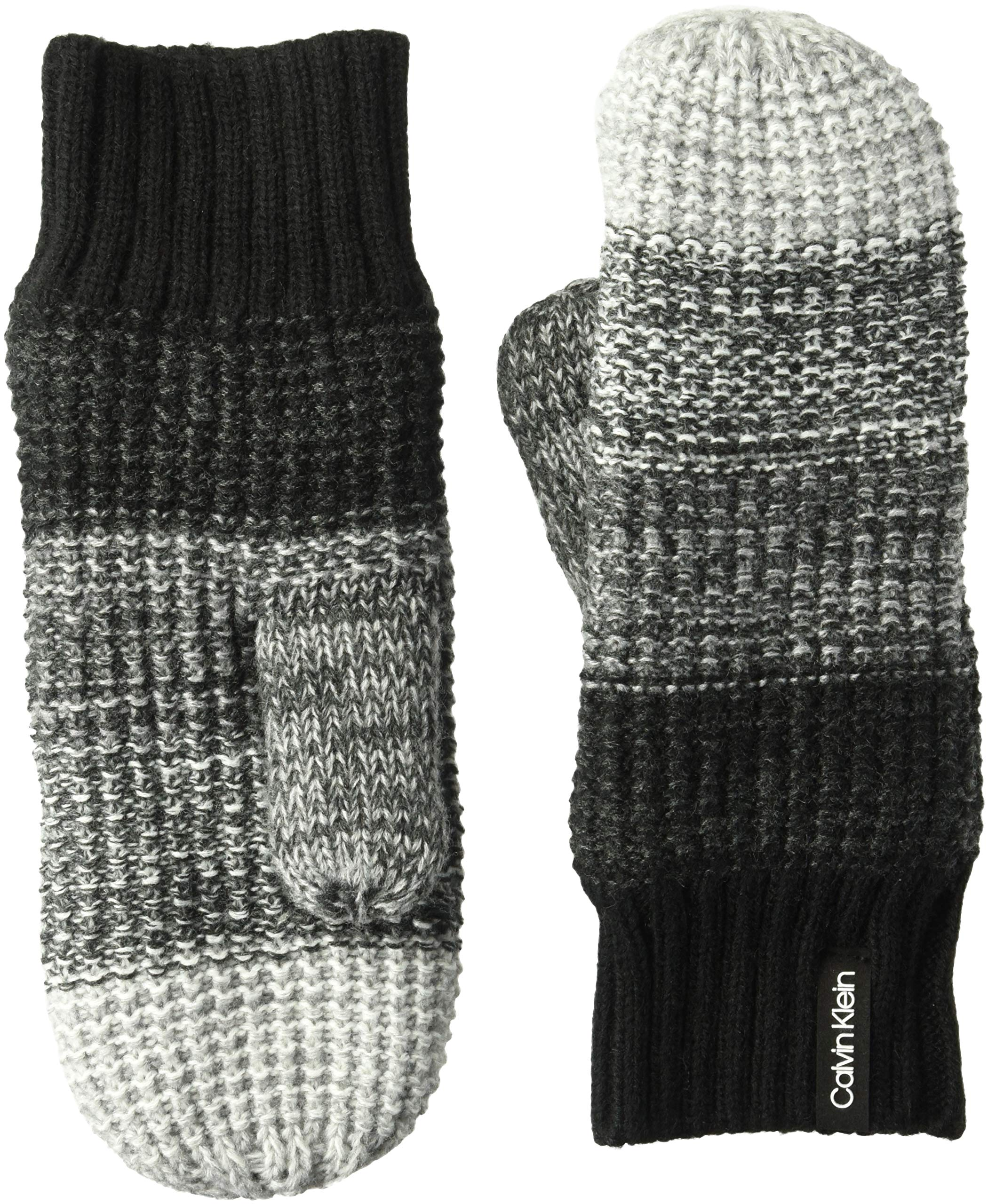 Calvin Klein Women's Ombre Knit Infinity Mittens, black, O/S by Calvin Klein