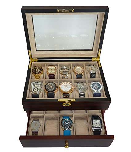 c268b4ecdfa Amazon.com  20 Piece Ebony Walnut Wood Men s Watch Box Display Case  Collection Jewelry Box Storage Glass Top  Home   Kitchen