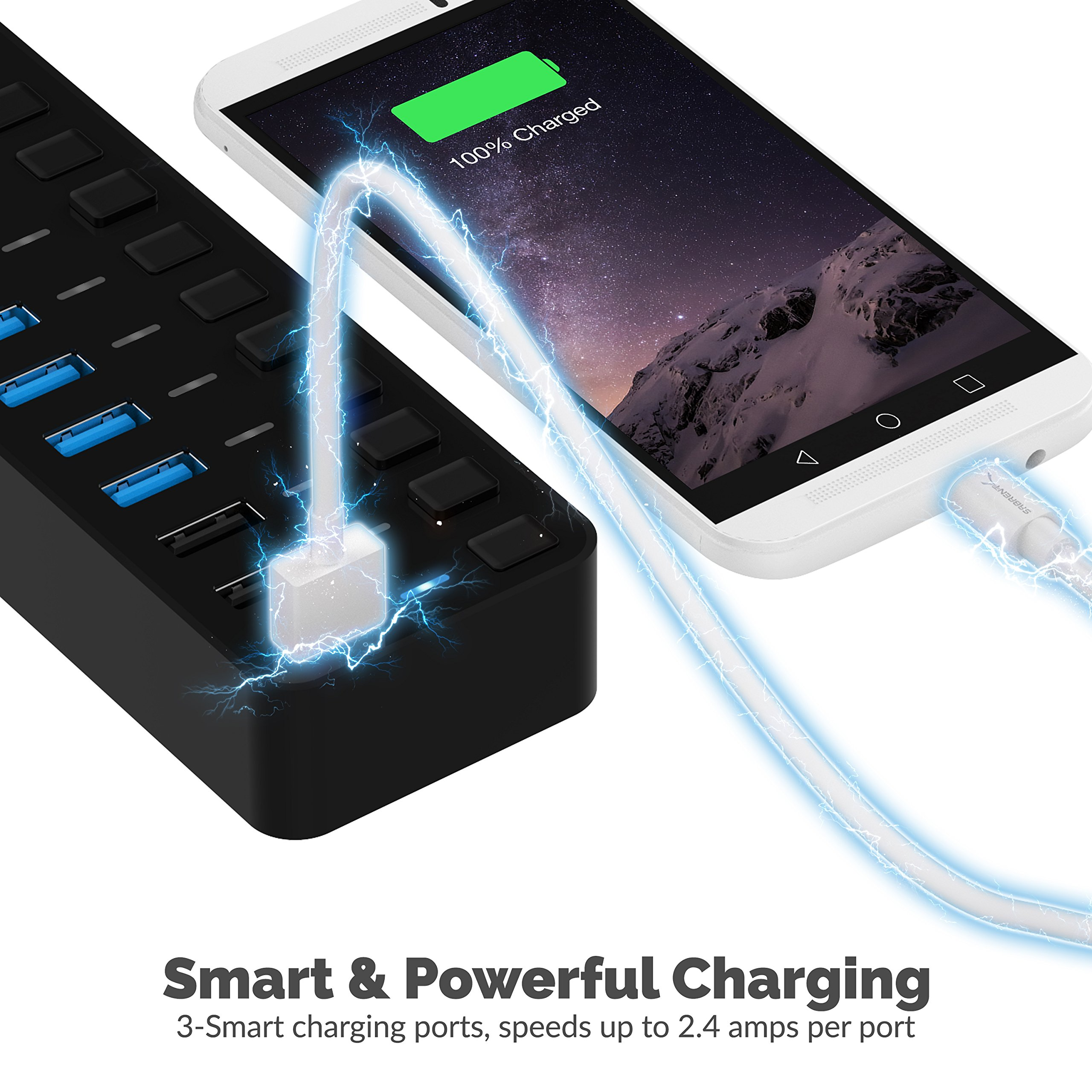 Sabrent 60W 7-Port USB 3.0 Hub + 3 Smart Charging Ports with Individual Power Switches and LEDs includes 60W 12V/5A power adapter (HB-B7C3) by Sabrent (Image #3)