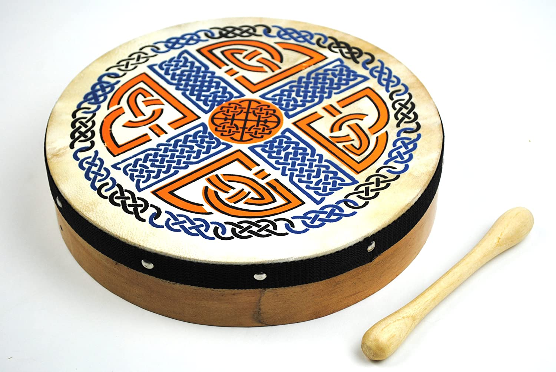10 Inch Celtic Irish Pattern Bodhran Drum and Beater 1to1music Bod10PatV