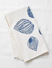 Tea Towel, Organic Cotton, Shell Design in Blue-violet, Large Size, Handmade in Maine