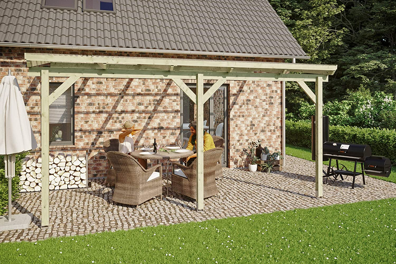 Skan Holz Pisa - Cubierta para terraza (500 x 350 cm, Trapezoidal, impermeabilizada): Amazon.es: Jardín