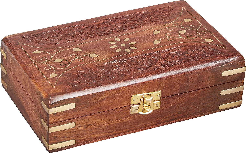 Caja oriental de almacenamiento pequeña con tapa Dubhe de 20cm de alto | Caja oriental de joyas para niñas y damas para almacenamiento de joyas | Caja marroquí de madera