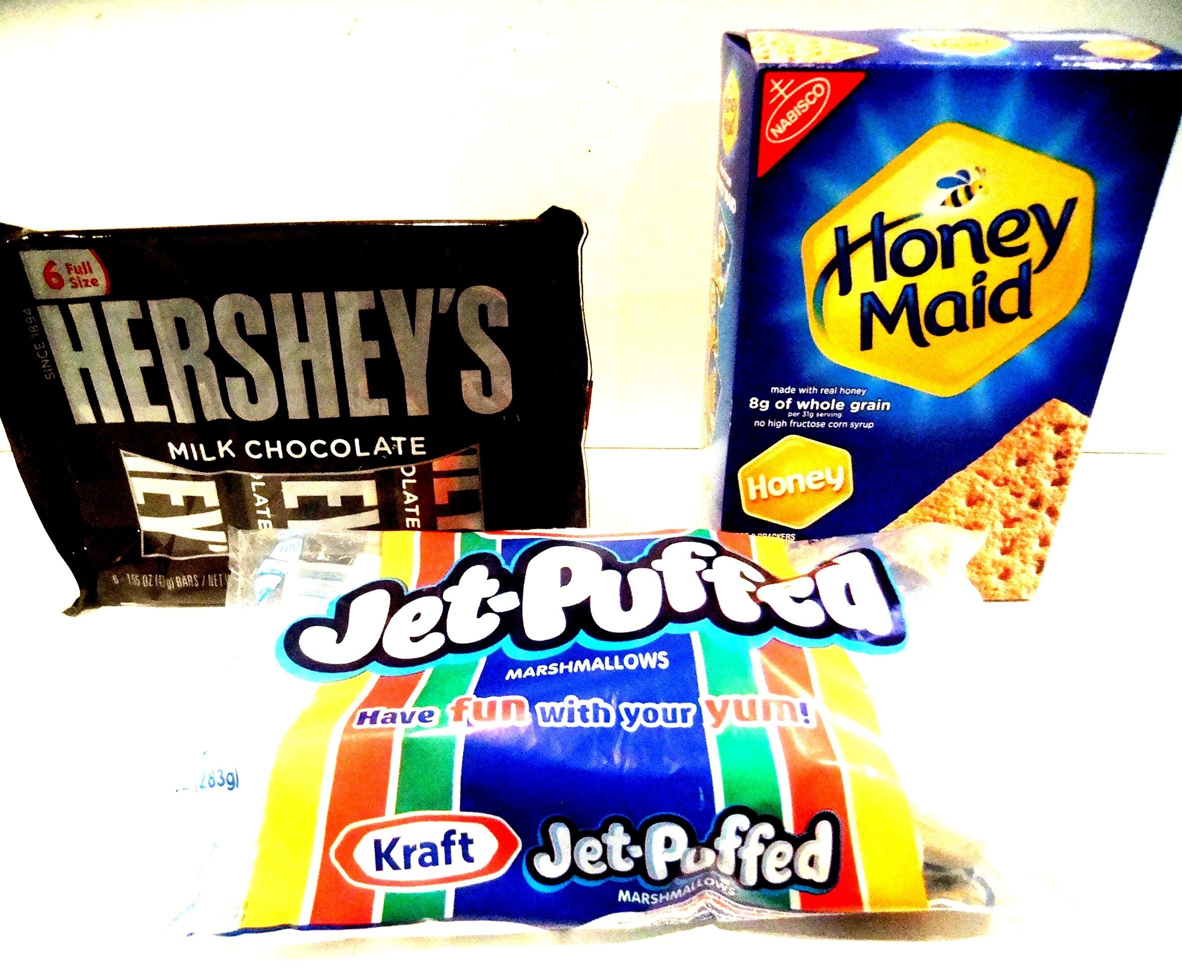 S'Mores Hershey's Chocolate Bars, Kraft Marshmallows & Honey Maid Graham Crackers