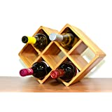 Superiore Livello Firenze 8 Bottle Bamboo Countertop Wine Rack Modern Design for Easy Free Standing Table Top Storage, in Natural Wooden Color and Solid Construction