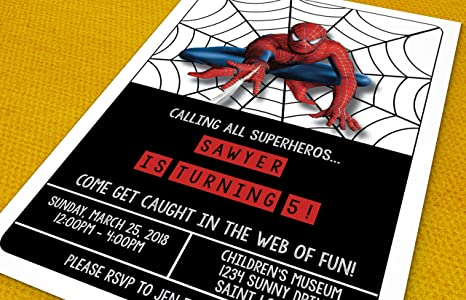 Amazon birthday invitations super hero party spiderman birthday invitations super hero party spiderman custom birthday invitations 20 invitations filmwisefo