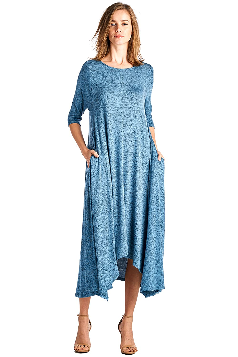 12 Ami Solid 3/4 Sleeve Pocket Loose Maxi Dress (S-3X) - Made in USA 2181D
