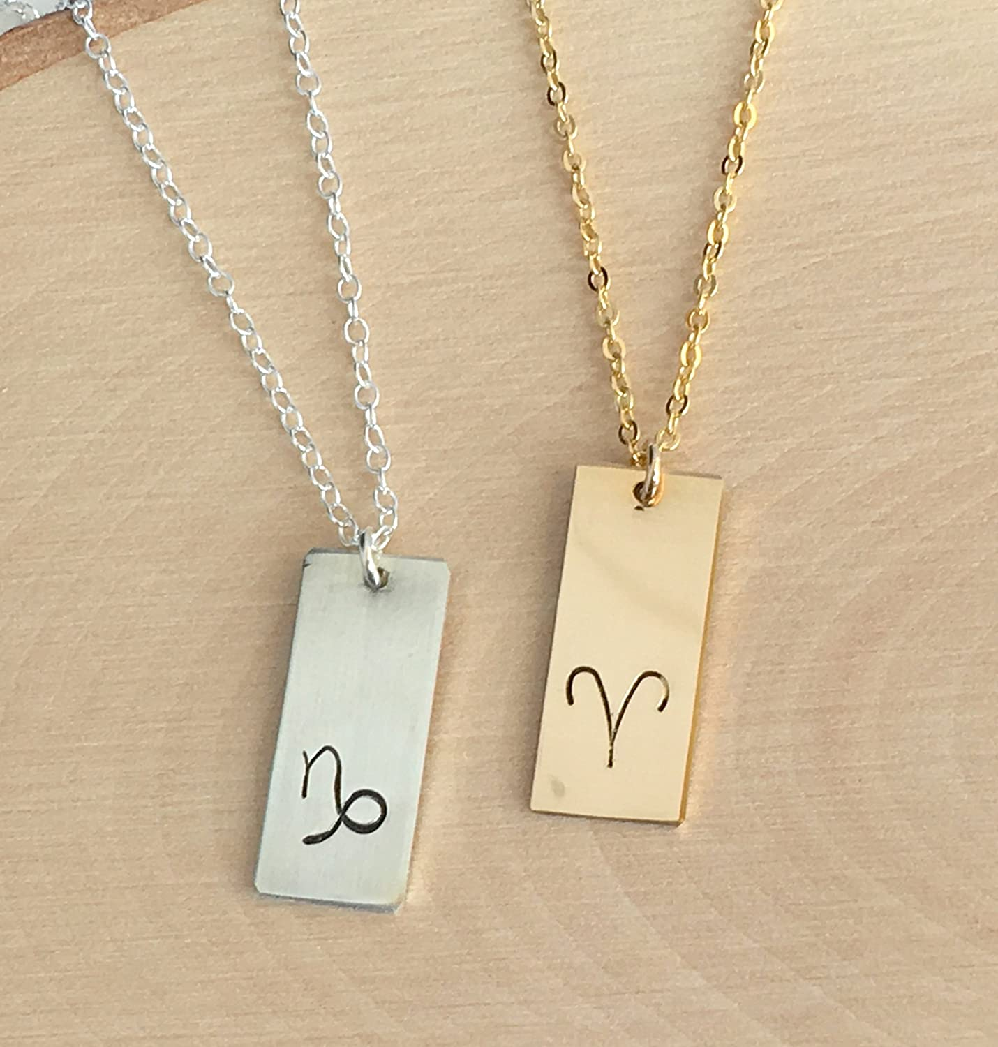 Small Gold-Plated Bronze Pendant and 925 Gold-Plated Chain Libra Gemini Aquarius Alchemical Element Gold Alchemy Air Sign