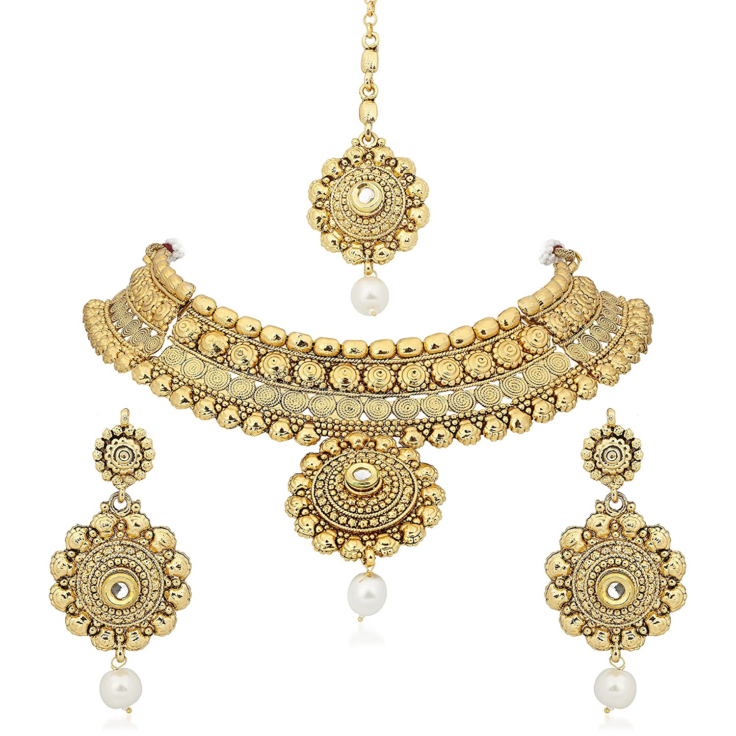Buy Meenaz Jewellery Gold Plated Kundan Pearl Traditional Necklace ...