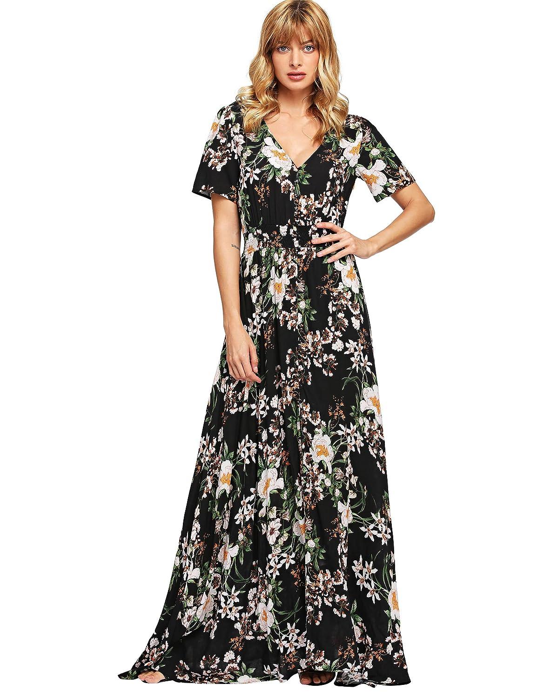 115229bd83f Milumia Women Floral Print Button Up Split Flowy Party Maxi Dress at Amazon  Women s Clothing store