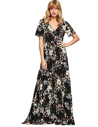 d01103cbf91 Milumia Women s Button Up Split Floral Print Flowy Party Maxi Dress X-Small  Black-