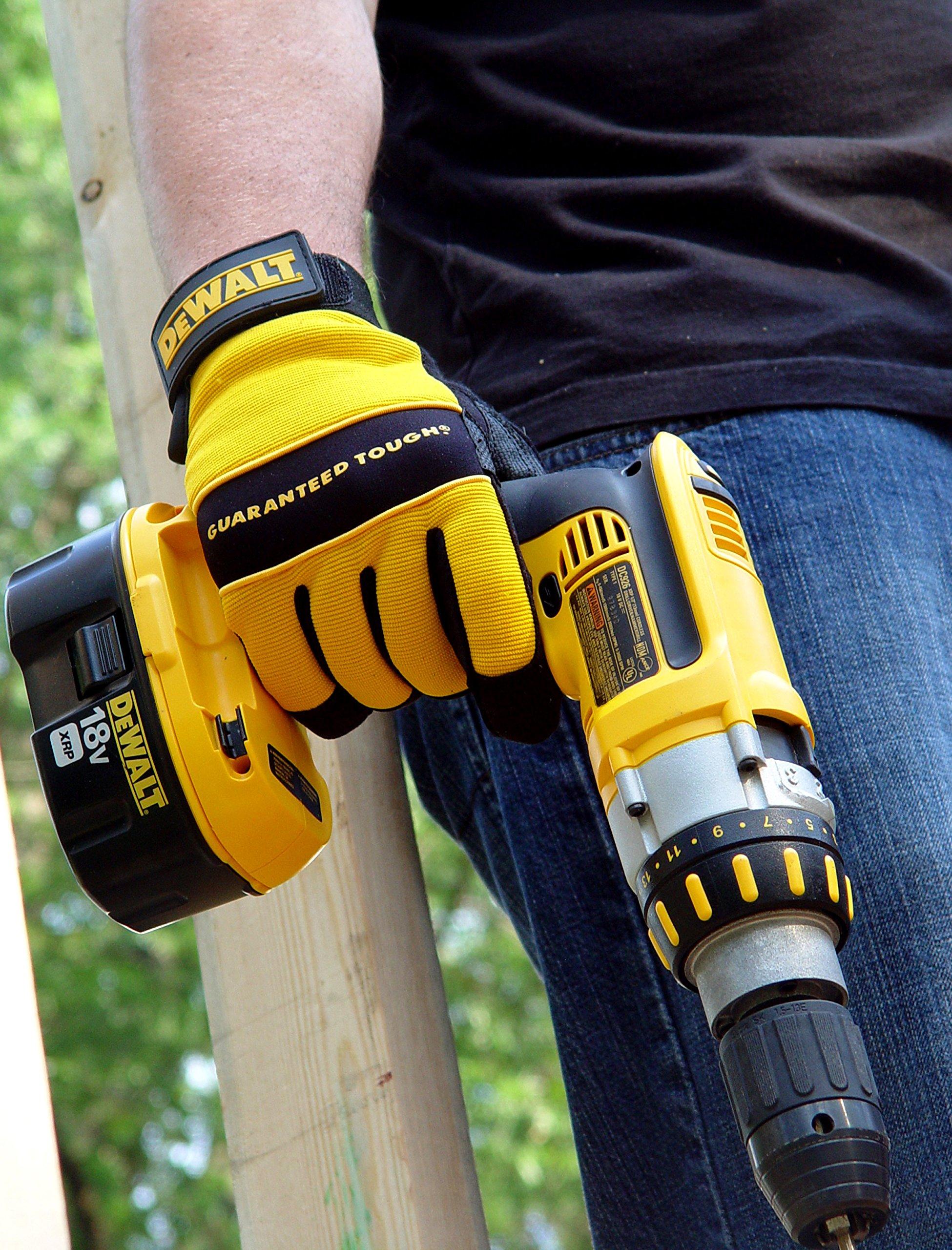 Dewalt DPG20L All Purpose Synthetic Leather Palm Spandex Back Velcro Wrist Work Glove, Large by DEWALT (Image #4)