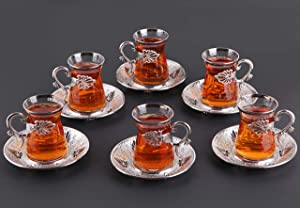 Luxury Turkish Tea Set with Saucers for 6 People - New Gold and Silver Tulip Flowered Design 12 Pieces Set - Great Vintage Housewarming Gift Tea Cups Set for Women, Men, New Home and Adults (S Leaf)