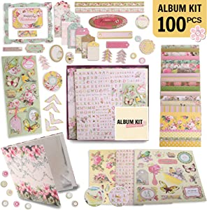"""PICKME's D.I.Y Floral Scrapbook Kits for Adults & Kids, Hardcover Scrapbook Album Including Stationery Set with Gold Embossed Stickers, Decorative Ribbons & Journaling Supplies. (12"""" x 12"""", 100Pc)"""