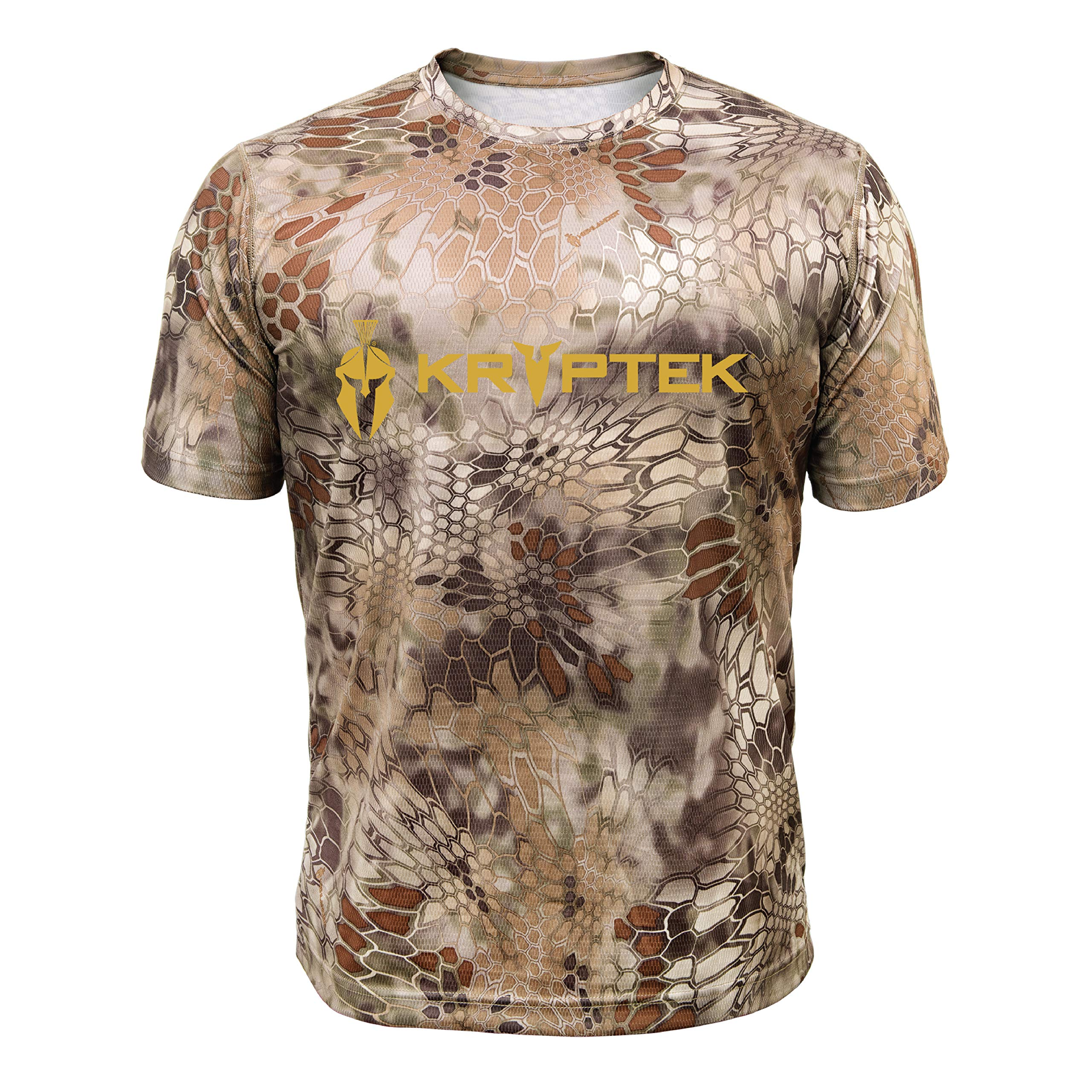 Kryptek Hyperion SS Crew with Logo - Short Sleeve Camo Hunting & Fishing Shirt (K-Ore Collection), Highlander, S