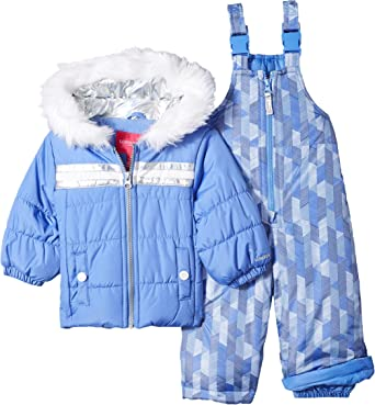 Grey Shooting Stars Print LONDON FOG Baby Girls Snowsuit with Snowbib and Puffer Jacket 18MO