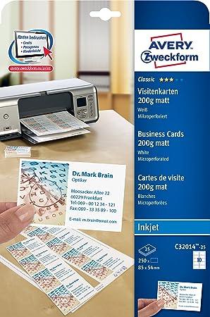 Avery Zweckform C32014 25 Paquet De Feuilles Papier 200 G Microperforees Pour Cartes