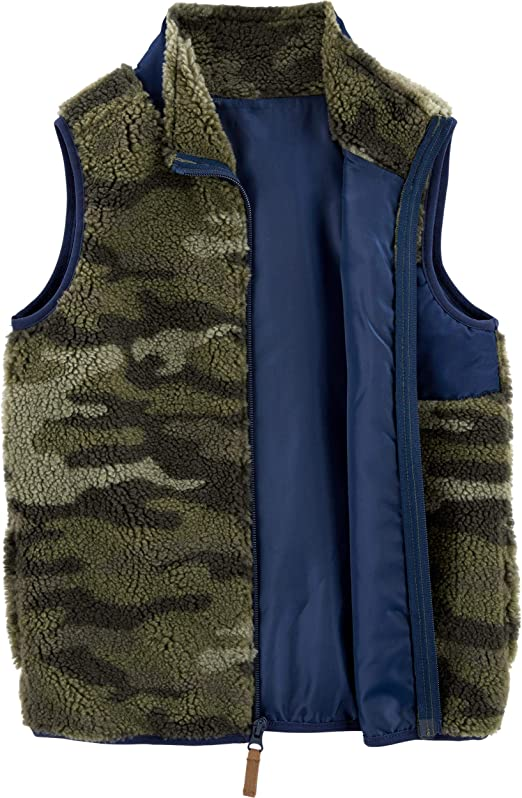Side Entry Pockets Size 14 Zipper Chest Pocket Carters Big Boys Camo and Navy Zip-Up Sherpa Vest Fully Lined